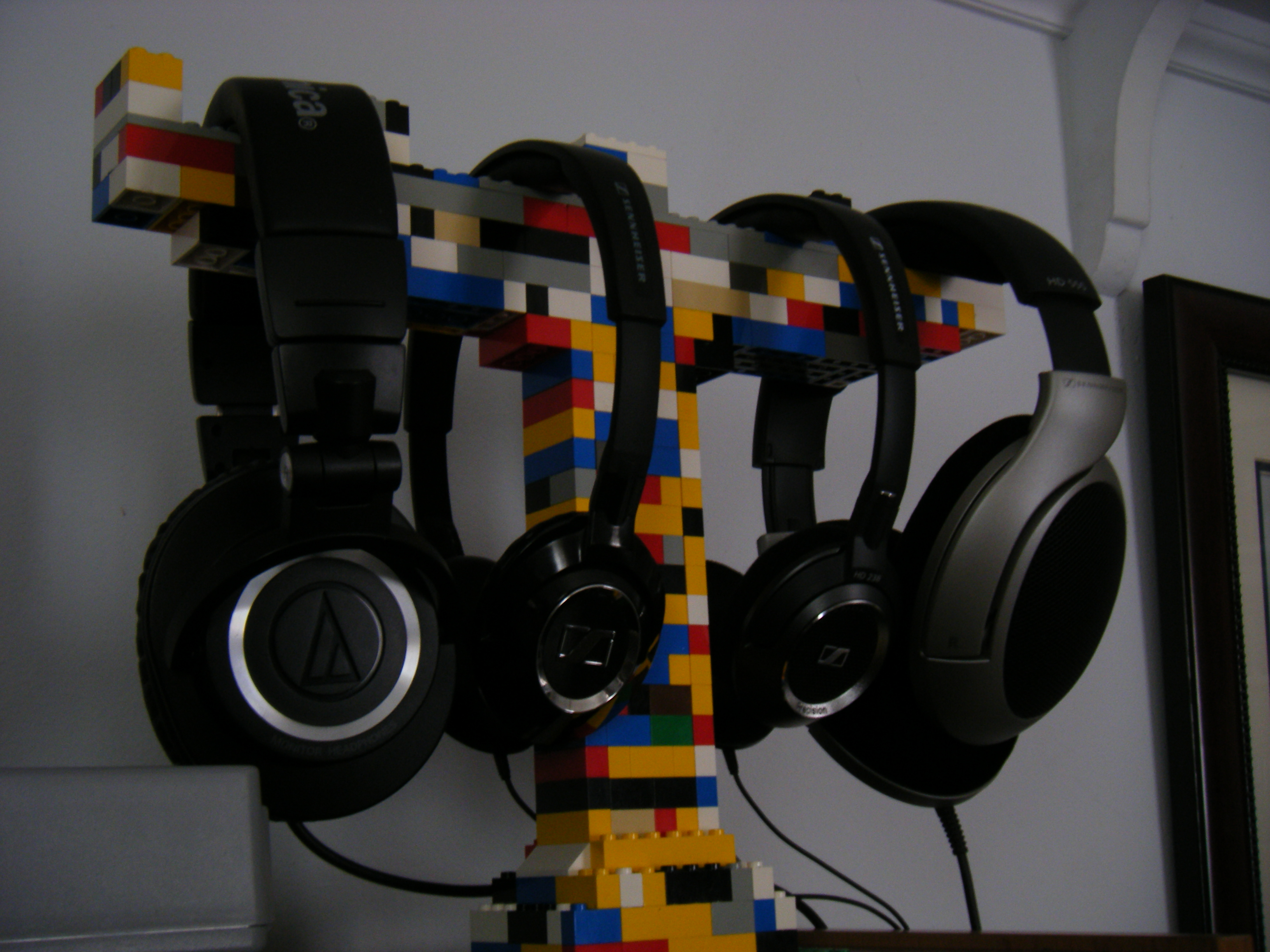 The most elegant of diy headphone stands or even the most elegant lego